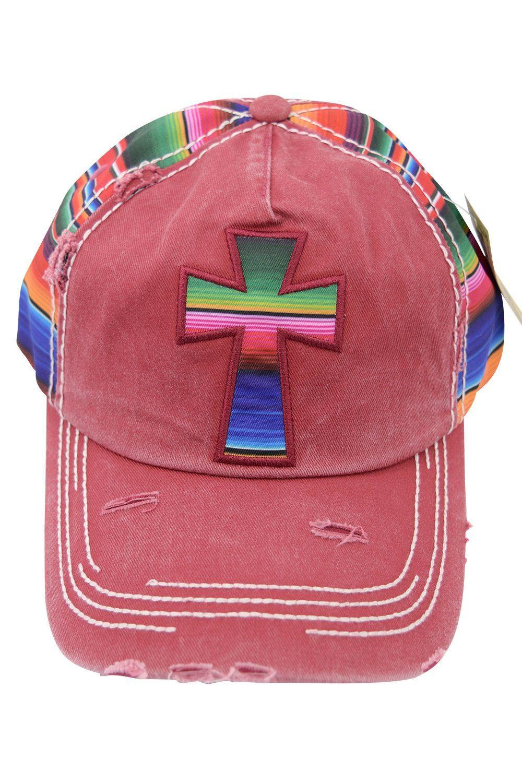 Mexican Serape Cross Distressed Baseball Cap | Baseball cap ...