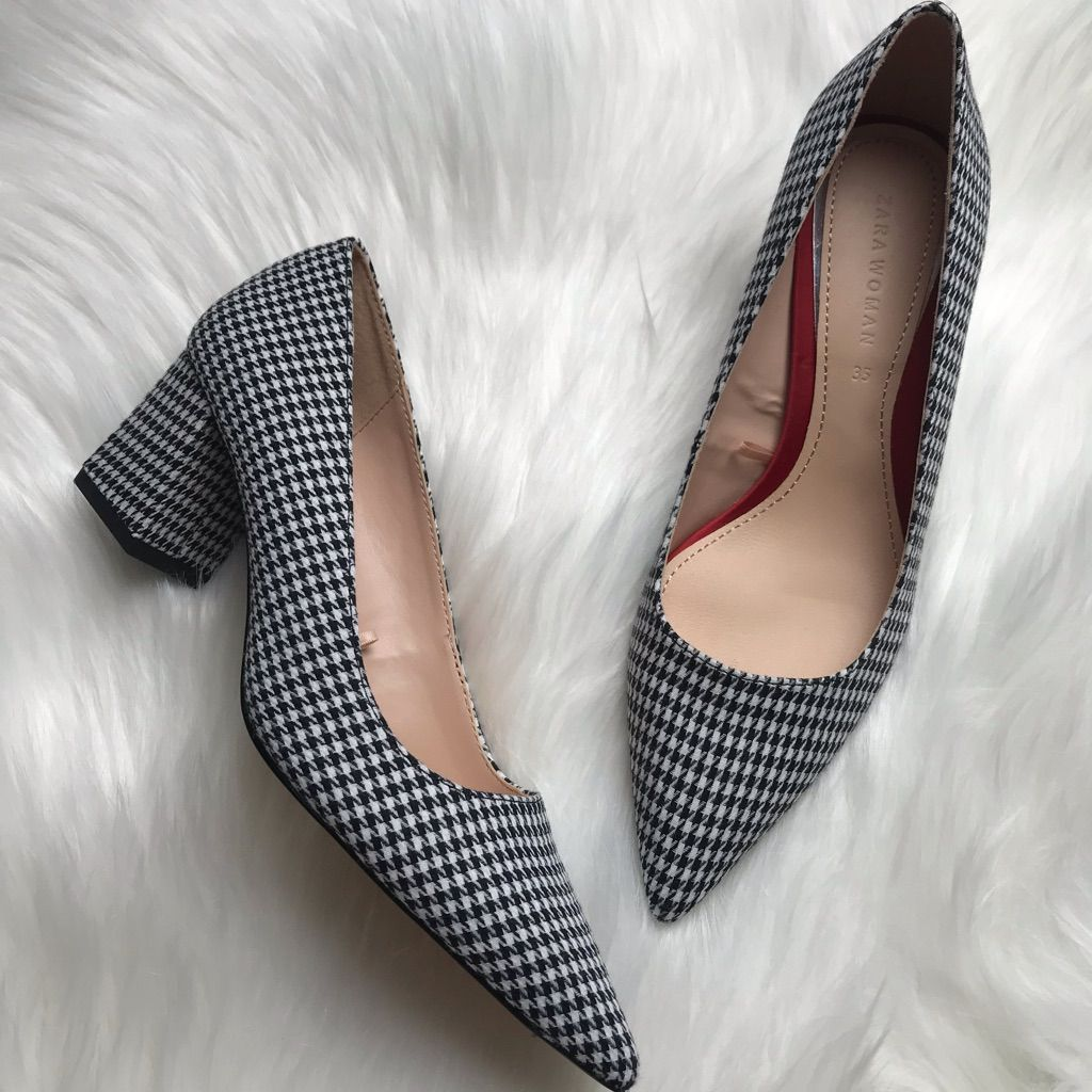 5423b1ca0ee Zara Shoes   Zara Checkered Block Heel Black & White Size 35   Color ...