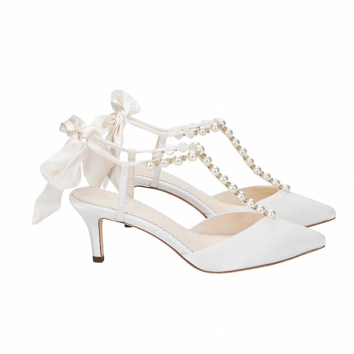 Pearls And Crystal Ivory Bow Kitten Heel Ivory Wedding Shoes