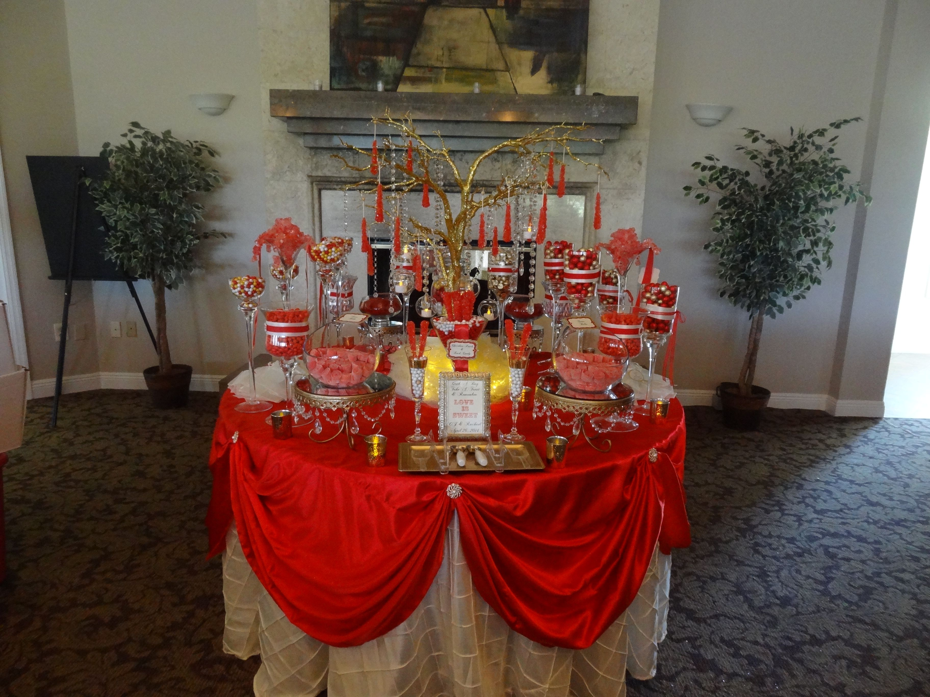 Red And Gold Candy Buffet Gold Candy Buffet Red Birthday Party Gold Candy