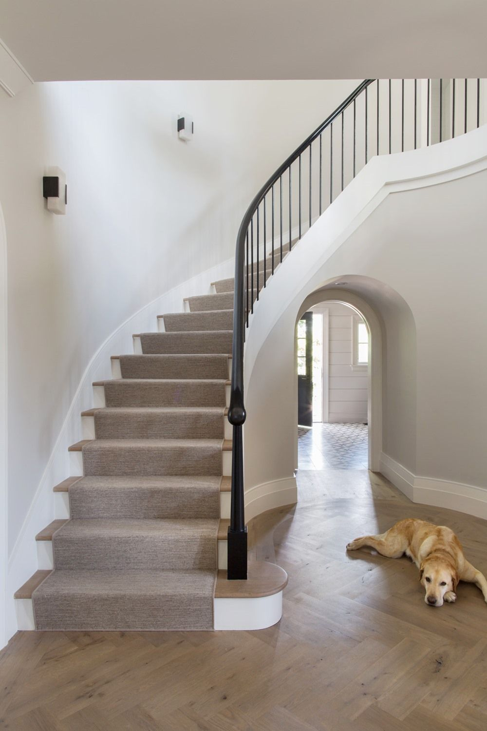 Best Open Transitional Staircase With Custom Arched Entryway 400 x 300