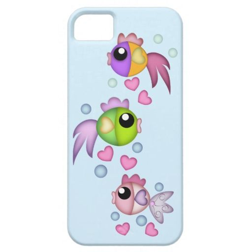 Cute cartoon fish with sweet hearts iPhone 5 case