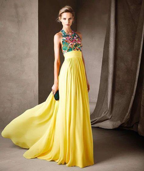 746f36c07952a Abito con top floreale - Modello giallo con top multicolor fra gli abiti  per cerimonia d