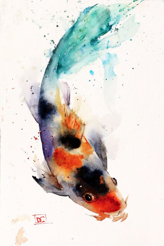 Koi watercolor fish print koi art koi painting by dean for Koi japanese art
