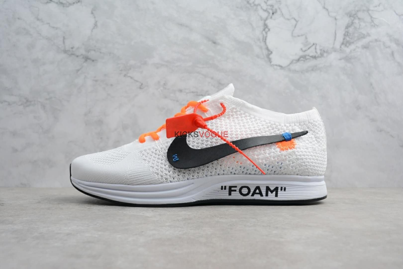 68dbc105cd50 Custom Virgil Abloh OFF WHITE Nike Flyknit Racer White