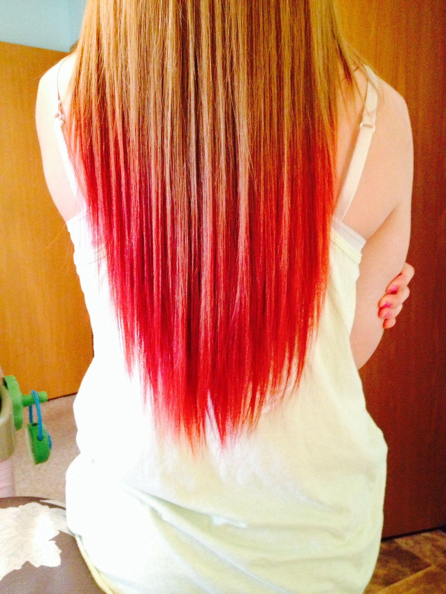My Dip Dyed Hair Dip Dye Hair Dipped Hair Red Dip Dye Hair