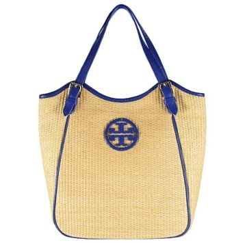 e5dfc08215 Tory Burch Straw Small Slouchy Natural/nile Blue Tote Bag   Totes on Sale  at Tradesy