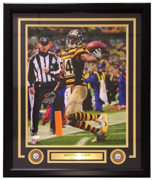 check out 55efb 6e51e Antonio Brown Signed Framed 16x20 Steelers Bumble Bee Jersey ...