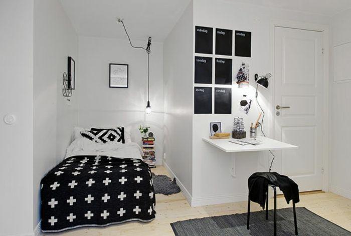 Kleines Schlafzimmer Einrichten Nische Bett Gemusterte Kissen Tagesdecke  Kreuzmuster