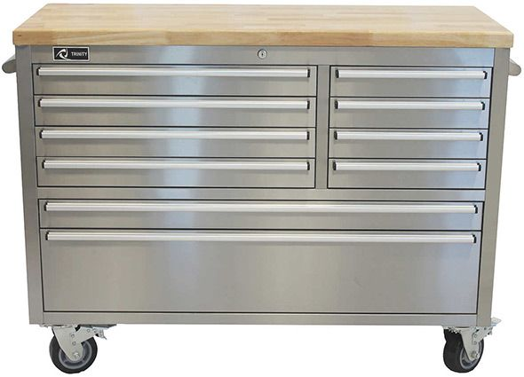 This Trinity Stainless Steel Rolling Workbench At Costco Gives You 10 Drawers A 2200 Lb Weight Capacity And 1 2 Wood Top