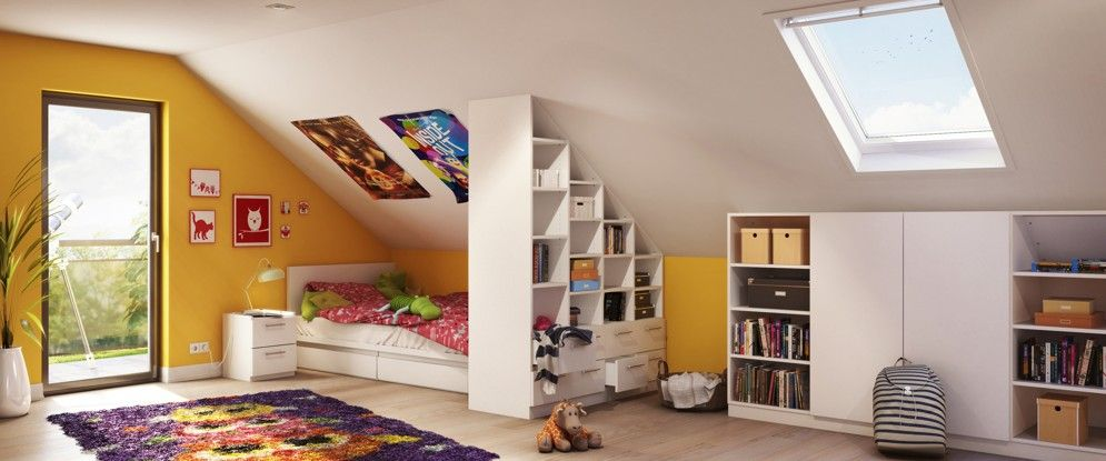 ma gefertiges regal mit seitlicher schr ge und drempelschrank im kinderzimmer raumteiler. Black Bedroom Furniture Sets. Home Design Ideas