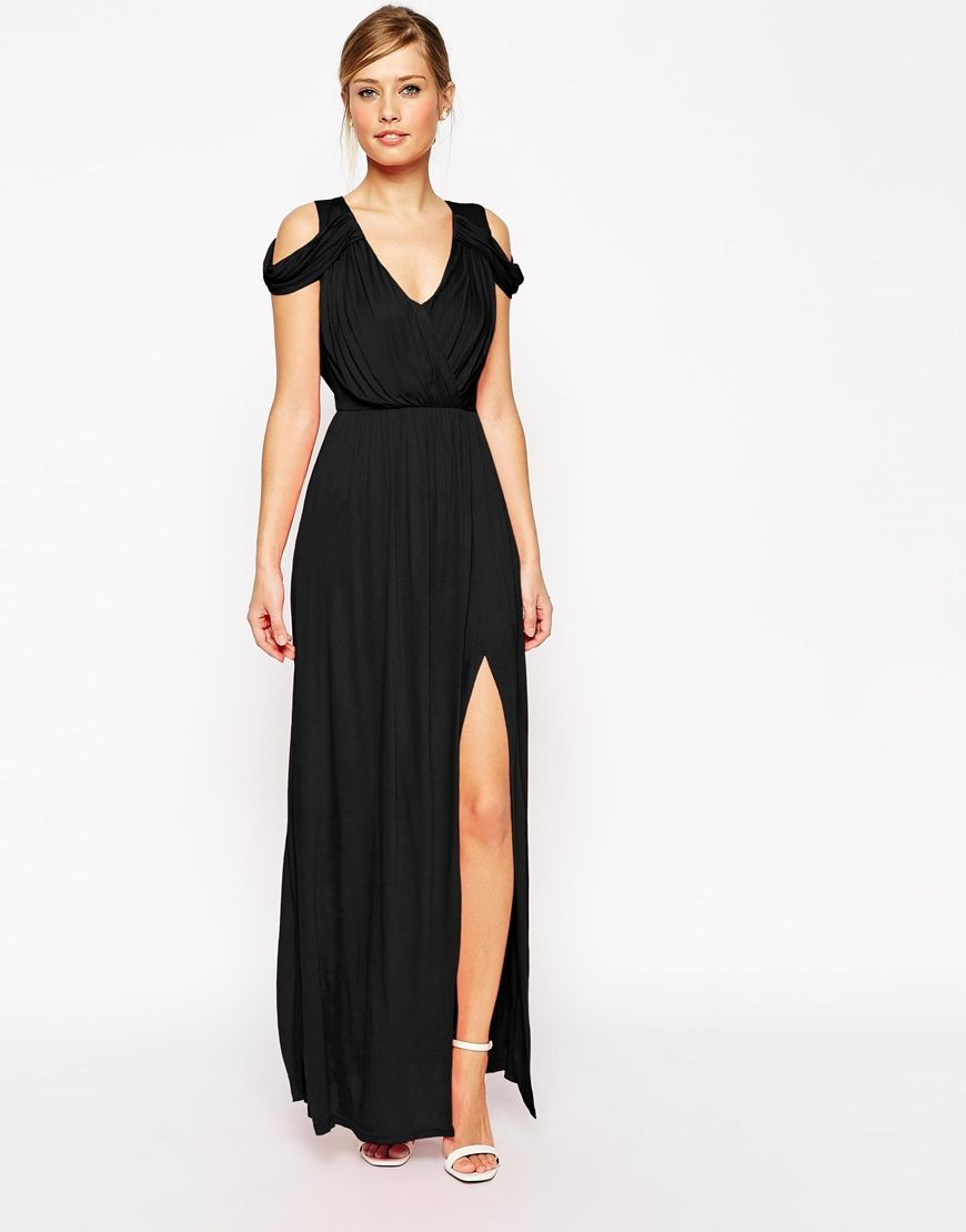 ASOS Cold Shoulder Wrap Maxi Dress