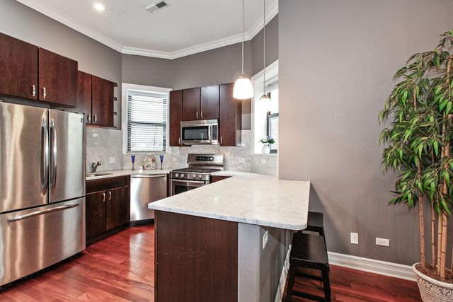 Cherry Floors Gray Walls Dark Cabinets With Light
