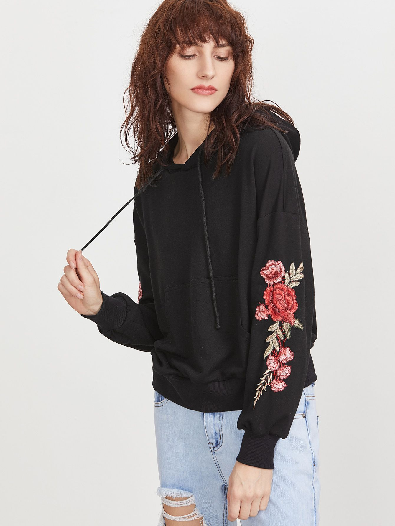Womens Floral Applique Rose Zipper Hoodie Ladies Gym Sports Wear Sweatshirt