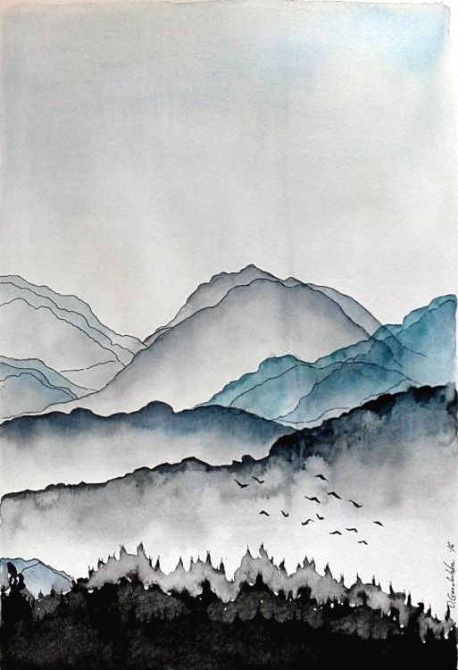 Mountain Landscape 2016 Watercolours By Olena Granovska