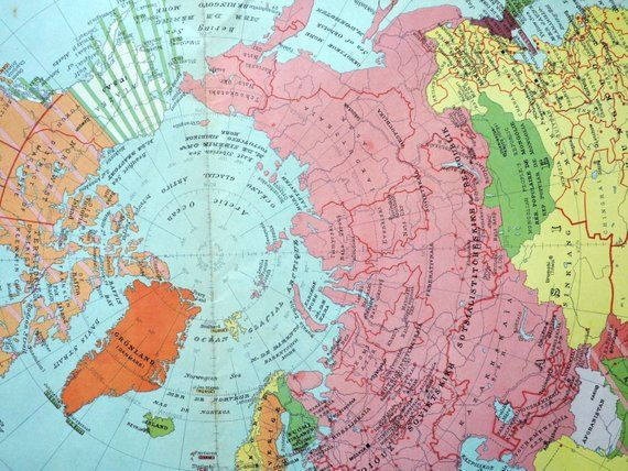 1950 Large Vintage Political Map of the Northern Hemisphere ...