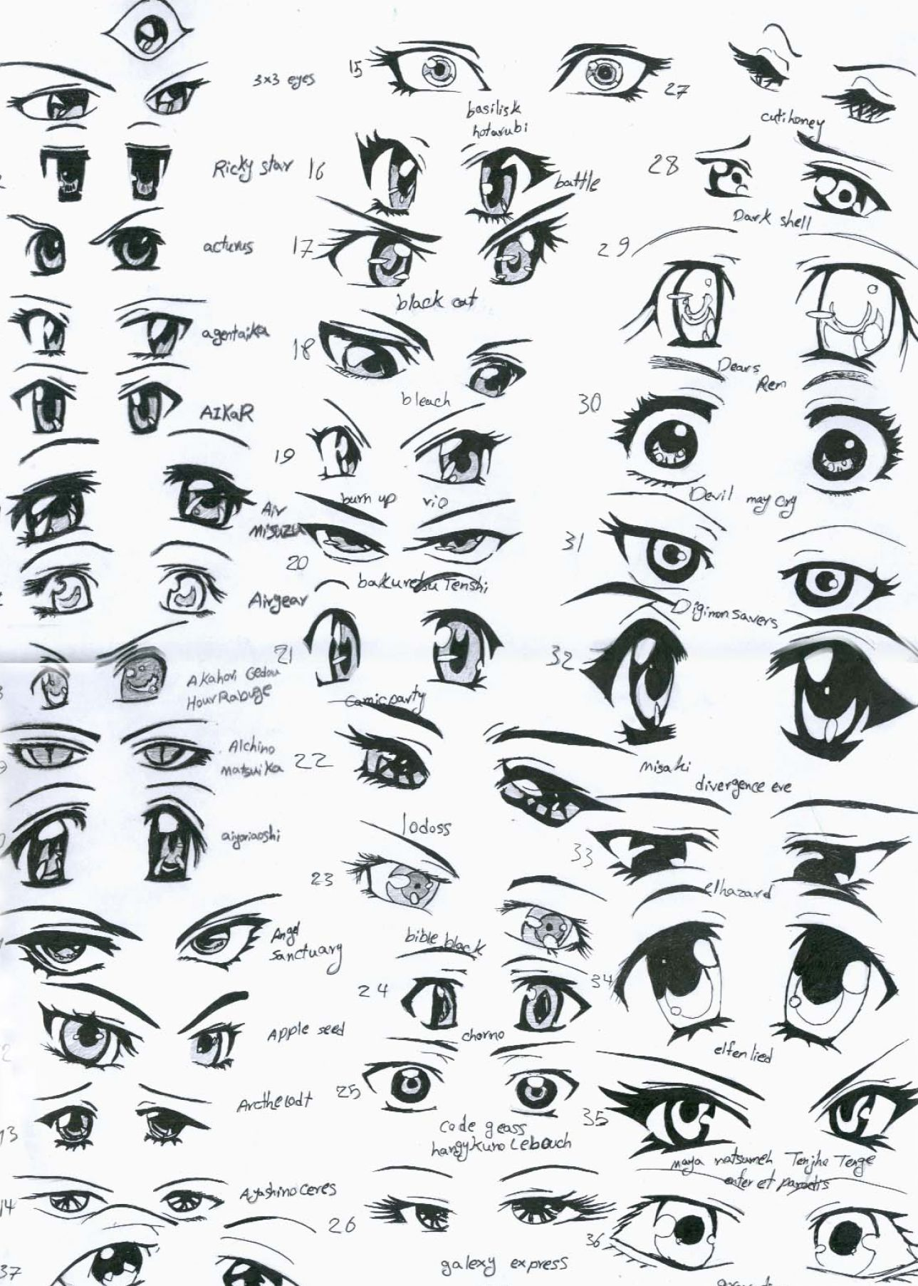 How to draw anime anime eyes