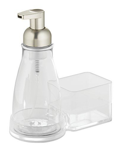 iDesign Clarity Plastic Soap Dispenser and Caddy Countertop Organizer Soap and Scrubby Caddy for Kitchen Clear Vanity Counter Organization Bathroom