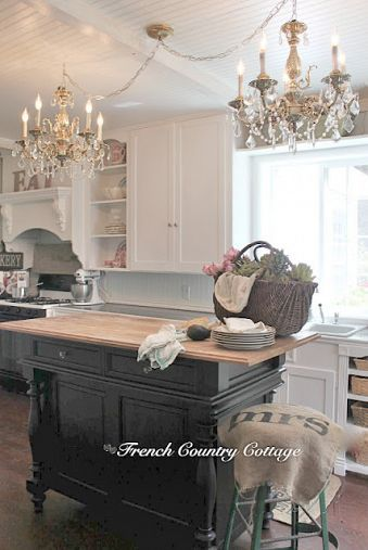 DIY::French Country Cottage Kitchen Makeover on a Budget-  I like the island.