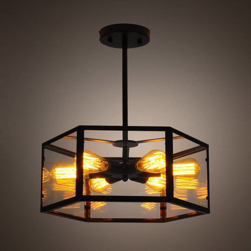 Industrial 6 light glass hexagon iron frame semi flush ceiling industrial 6 light glass hexagon iron frame semi flush ceiling light lighting mozeypictures Image collections
