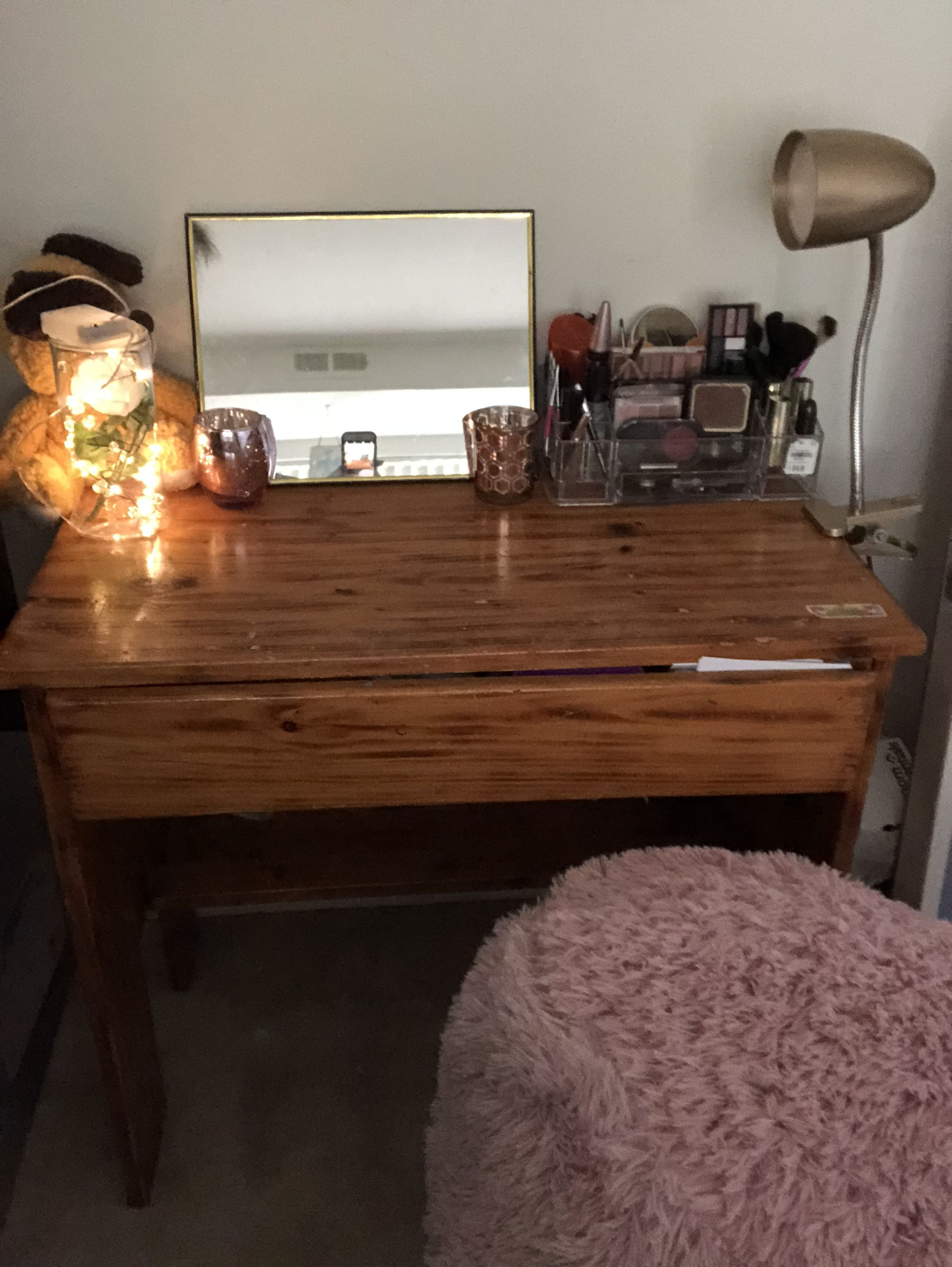 My old wooden desk turned into a small makeup vanity i also bought