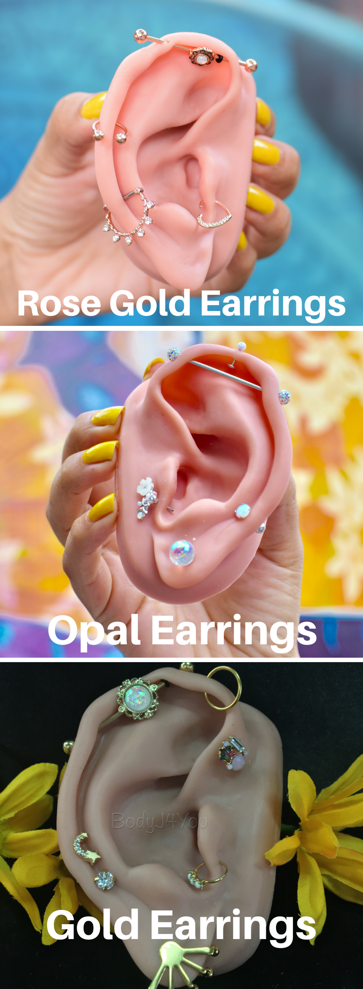New piercing ideas  Here are a few curated ears we have created with our BodyJYou