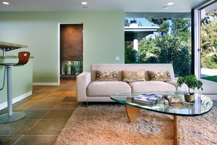 Grün im Wohnzimmer \u2013 25 Beispiele für Farbgestaltung in 2018 - wohnzimmer tapeten braun beige