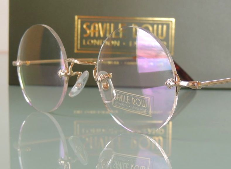 Steve Jobs Style ROUND RIMLESS SAVILE ROW GLASSES HAND MADE TO ORDER IN LONDON