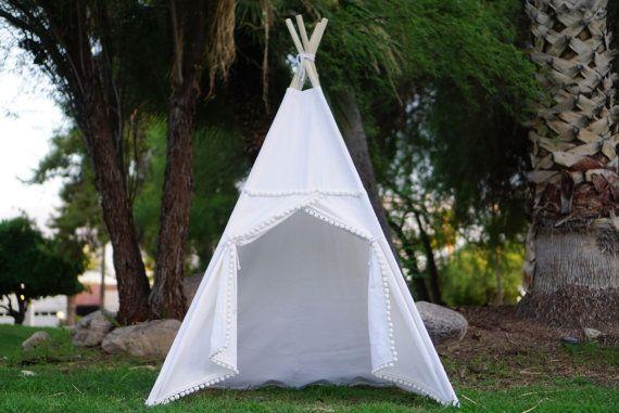 White Pompom teepee kids Teepee tipi Play tent wigwam or & White Pompom teepee kids Teepee tipi Play tent wigwam or   Kids ...