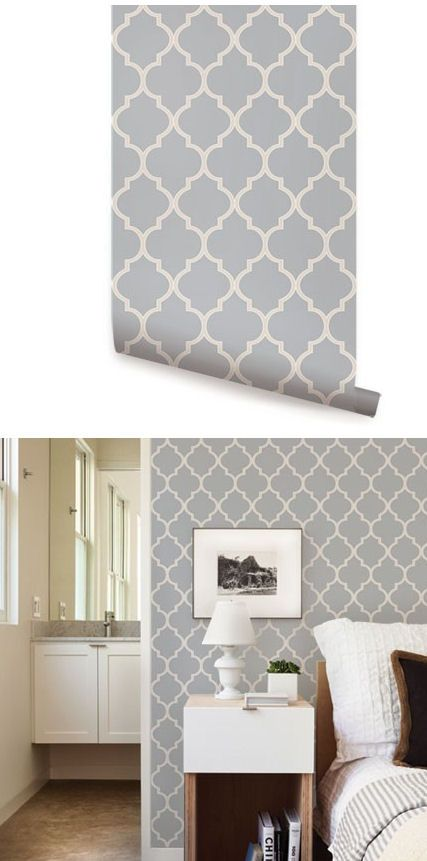 Moroccan Light Gray Peel And Stick Wallpaper Grey Wallpaper Bedroom Wallpaper Bedroom Feature Wall Wallpaper Bedroom