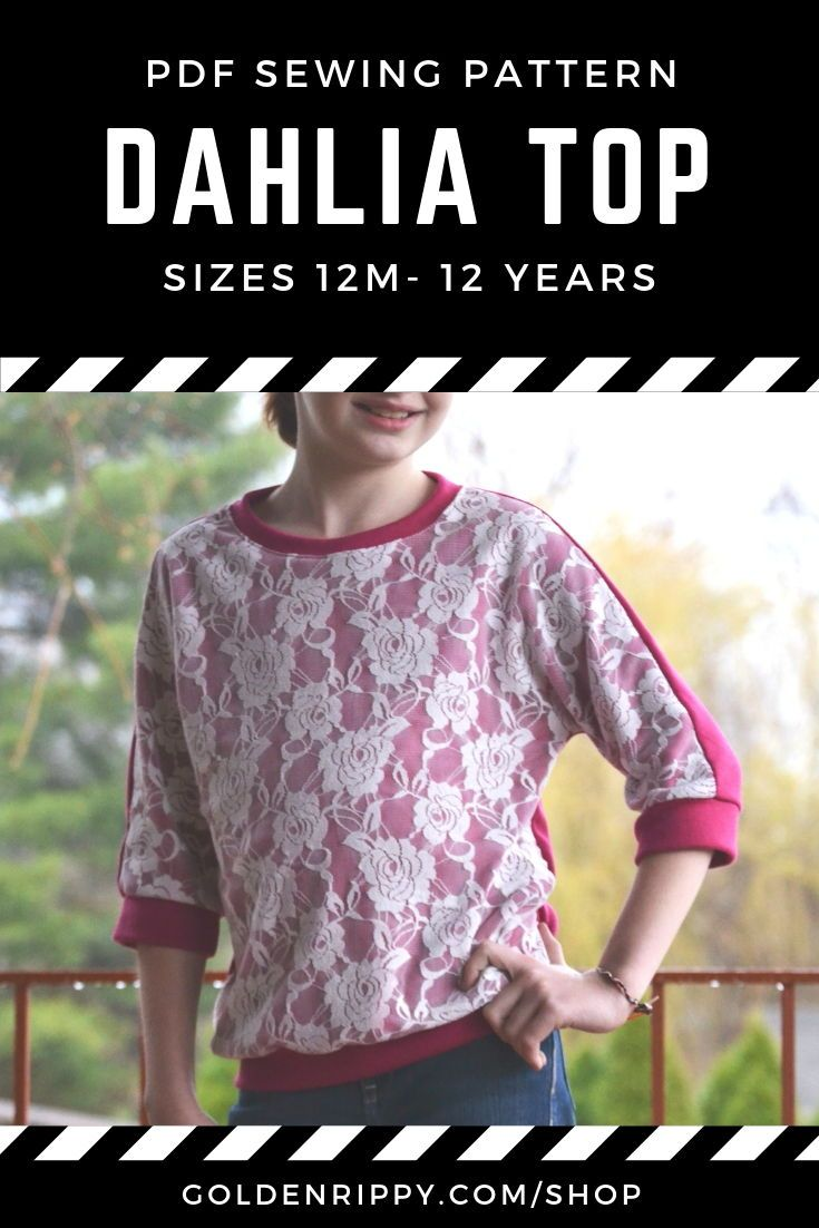 Here's the Dahlia Top pdf sewing pattern. It's a quick and easy introduction into knit  fabrics. Perfect for learning how to sew knits. Comes in sizes 12 months to 12 years. The  instructions make it an easy sew. comes with optional flowers.  #dahliatop #sewingpattern #pdf #pattern #girls #top #sewing #dolman #easy