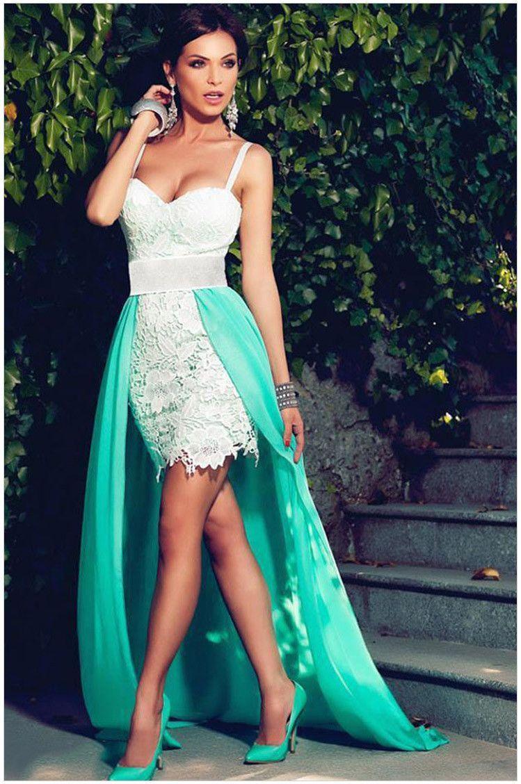 Splicing Spaghetti Strap V-neck Low-high Lace Evening Dress ...