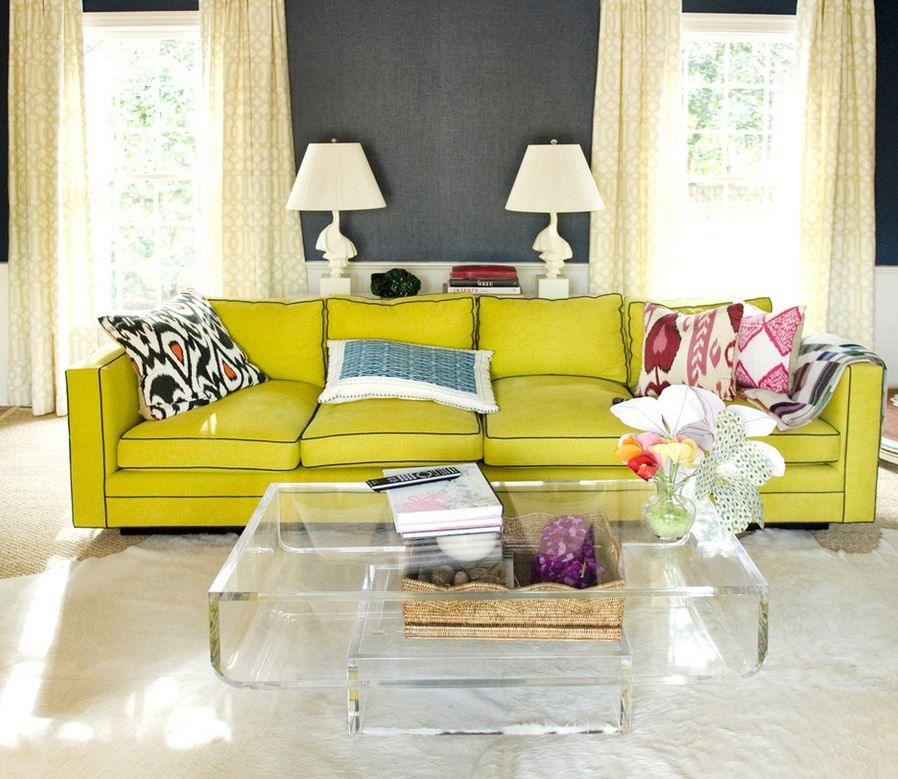 Acrylic coffeetable with lime sofa Interiors Pinterest Living
