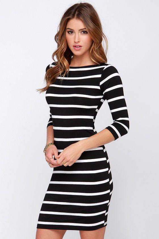Black and white striped dress fashion