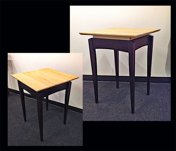 """DAVID KELLUM: Side Table Birds Eye maple and hickory. Dimensions: 23"""" x 23"""" x 30"""" tall."""