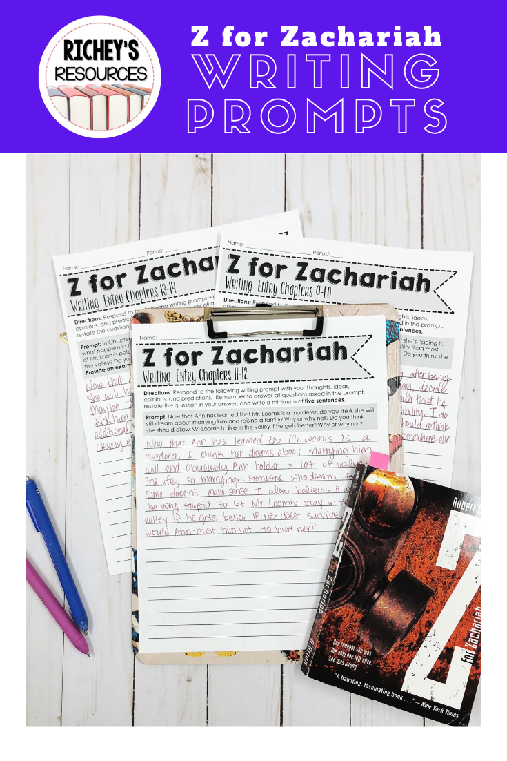 Z For Zachariah Writing Prompt Novel Studie Common Core Literacy Essay