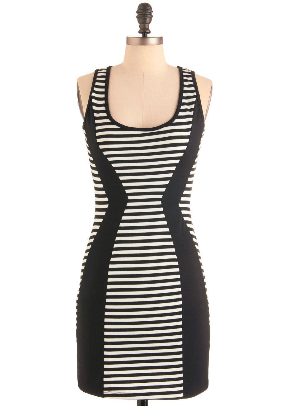 Urban Architect Dress - Short, Stripes, Mini, Tank top (2 thick straps), Urban, Black, White, Party, Sheath / Shift