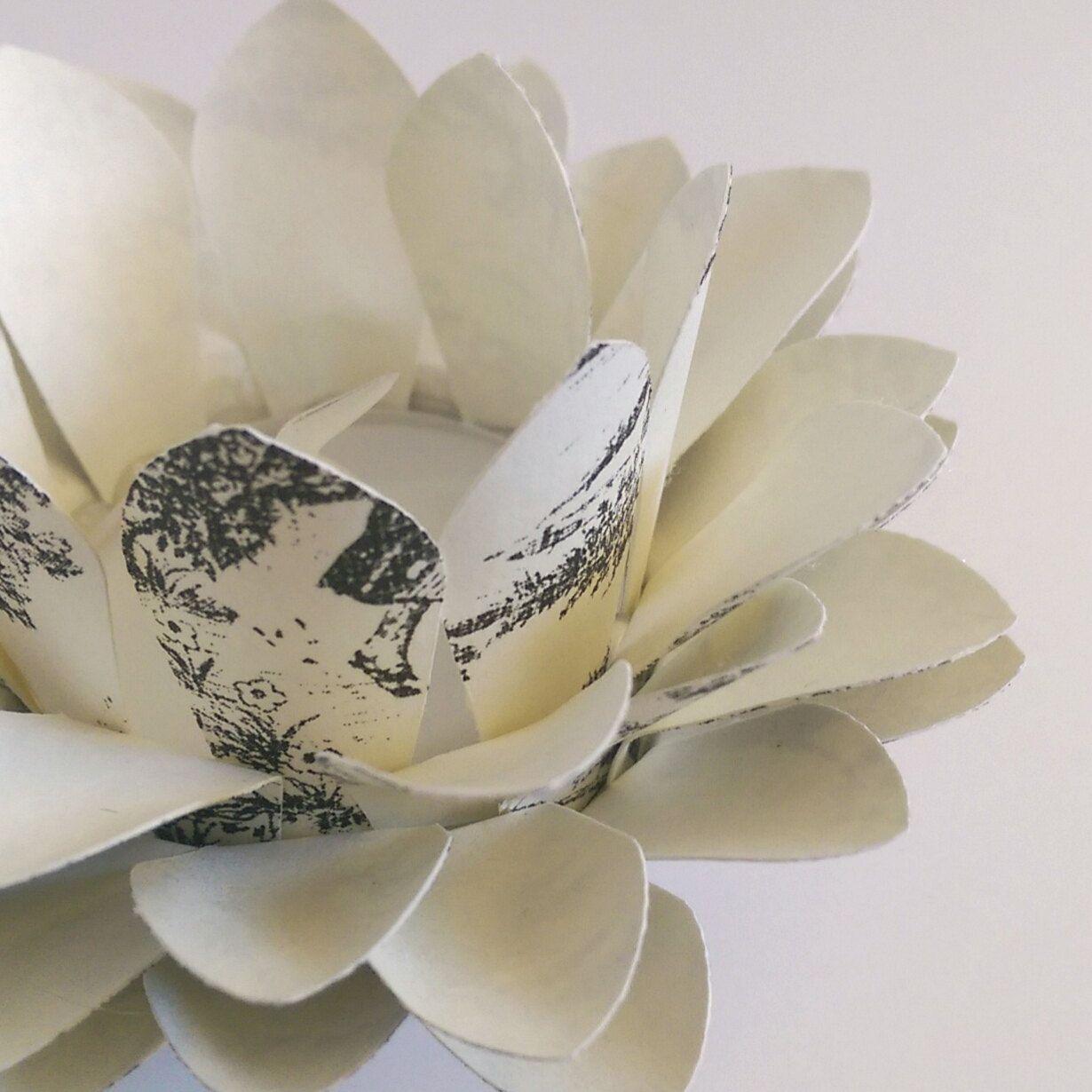 Vintage Toile Paper Lotus Lamp paper tea light Waterlily centerpiece