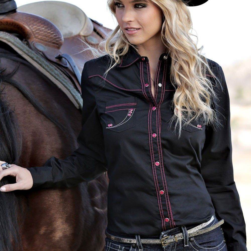 944c95aa Cruel Girl® Ladies Black and Pink Stitching With Rhinestones Western Shirt