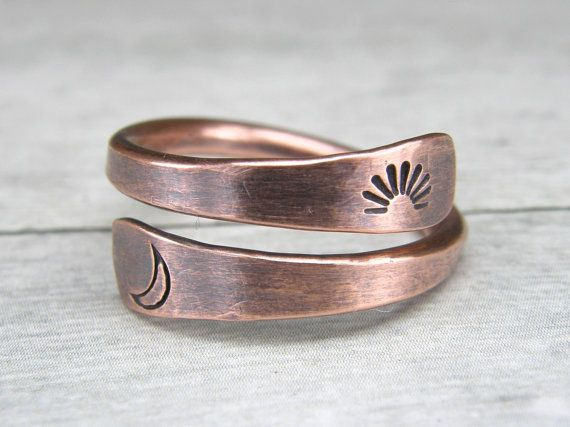 Sun & Moon anello di rame, metallo timbrato rame anello, anello di filo, su ordinazione di rame