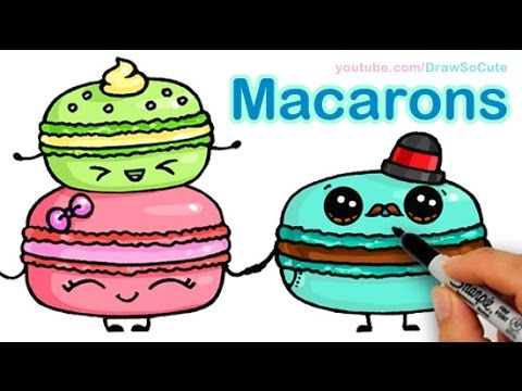 How To Draw Macarons Cute Step By Step Sweet Cartoon Desserts Kids
