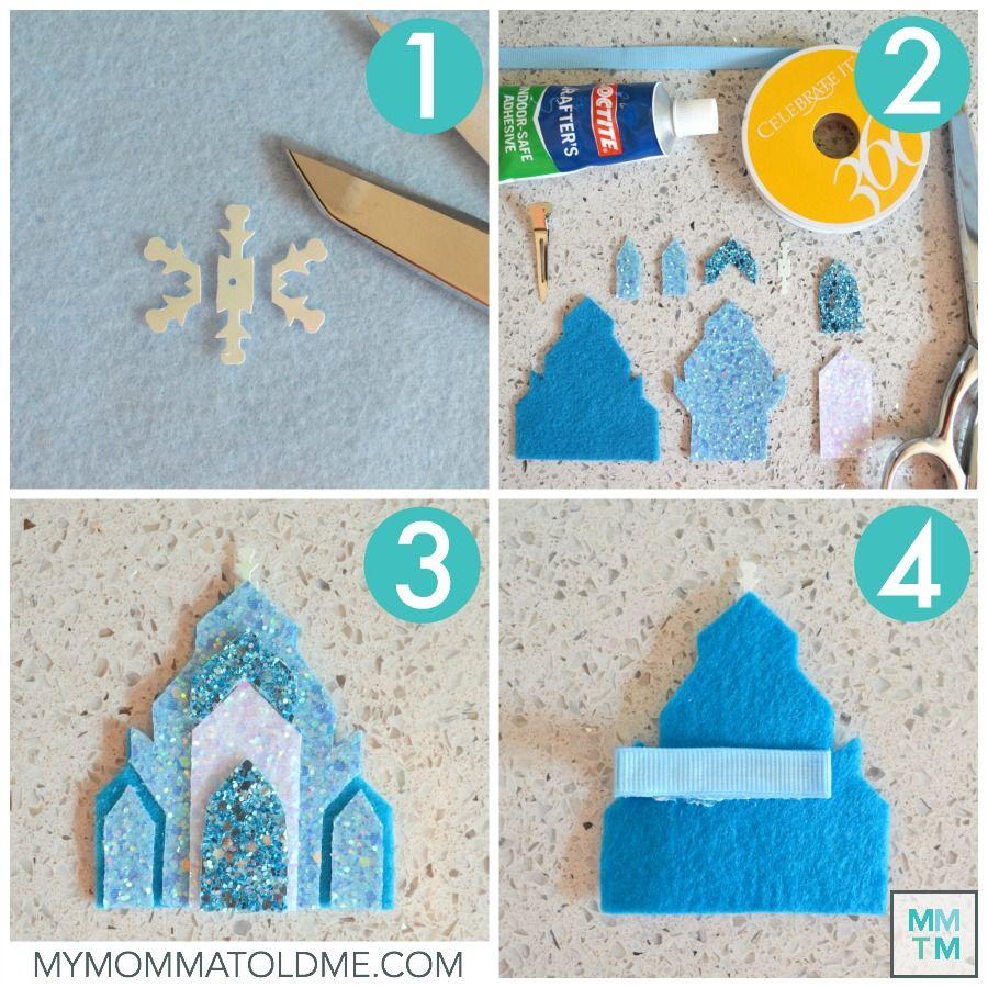 Elsa S Ice Castle Hair Clip Tutorial Frozen Crafts Bow Template Felt Ornaments Patterns
