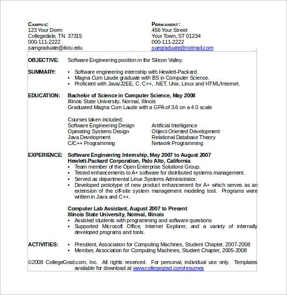 computer science resume download free documents pdf word sorority - sample computer science resume