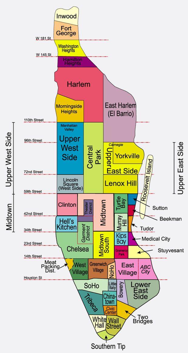 mapa manhattan Barrios de Manhattan, qué ver y mapas   Lugares que visitar  mapa manhattan