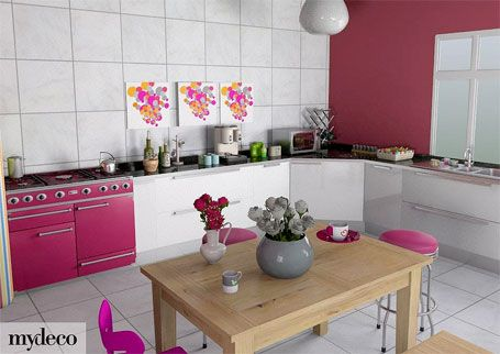 grey and white kitchen with bright pink accessories, statement wall and pink oven