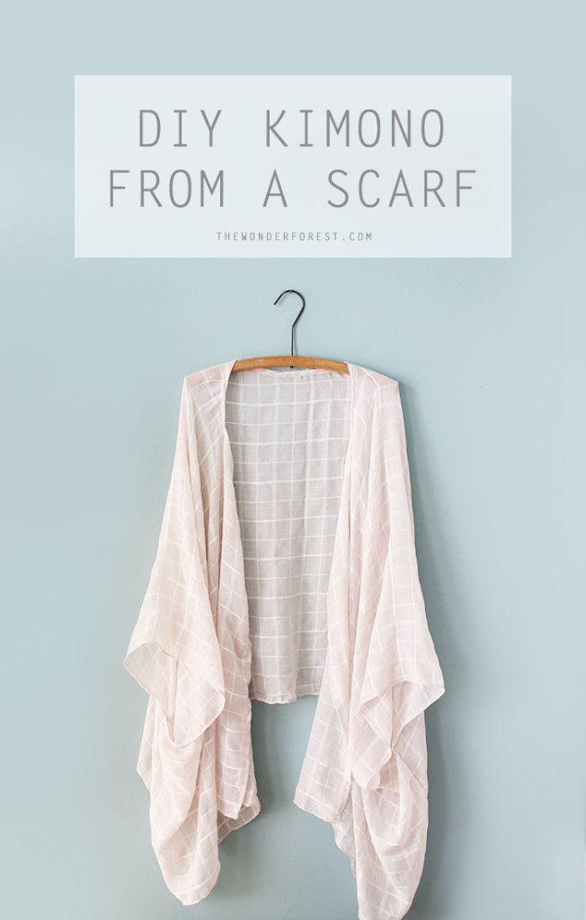Make a DIY Kimono From a Scarf | Bosques, Costura y Patrones
