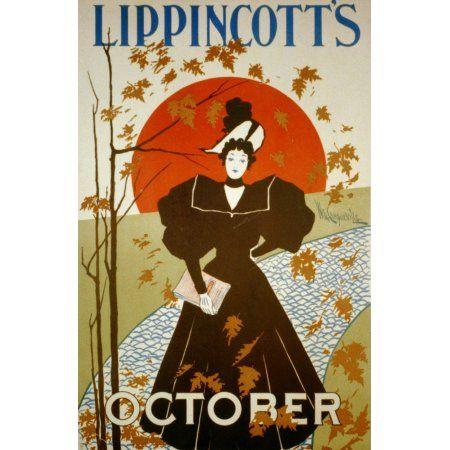 Lippincott/'s Magazine Vintage Cover Poster W Carqueville US 1895 24X36 prized