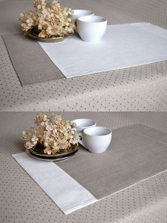 Linen Tan Gray With White Placemats Natural Fabric Table Etsy White Placemats Placemats Linen Placemats