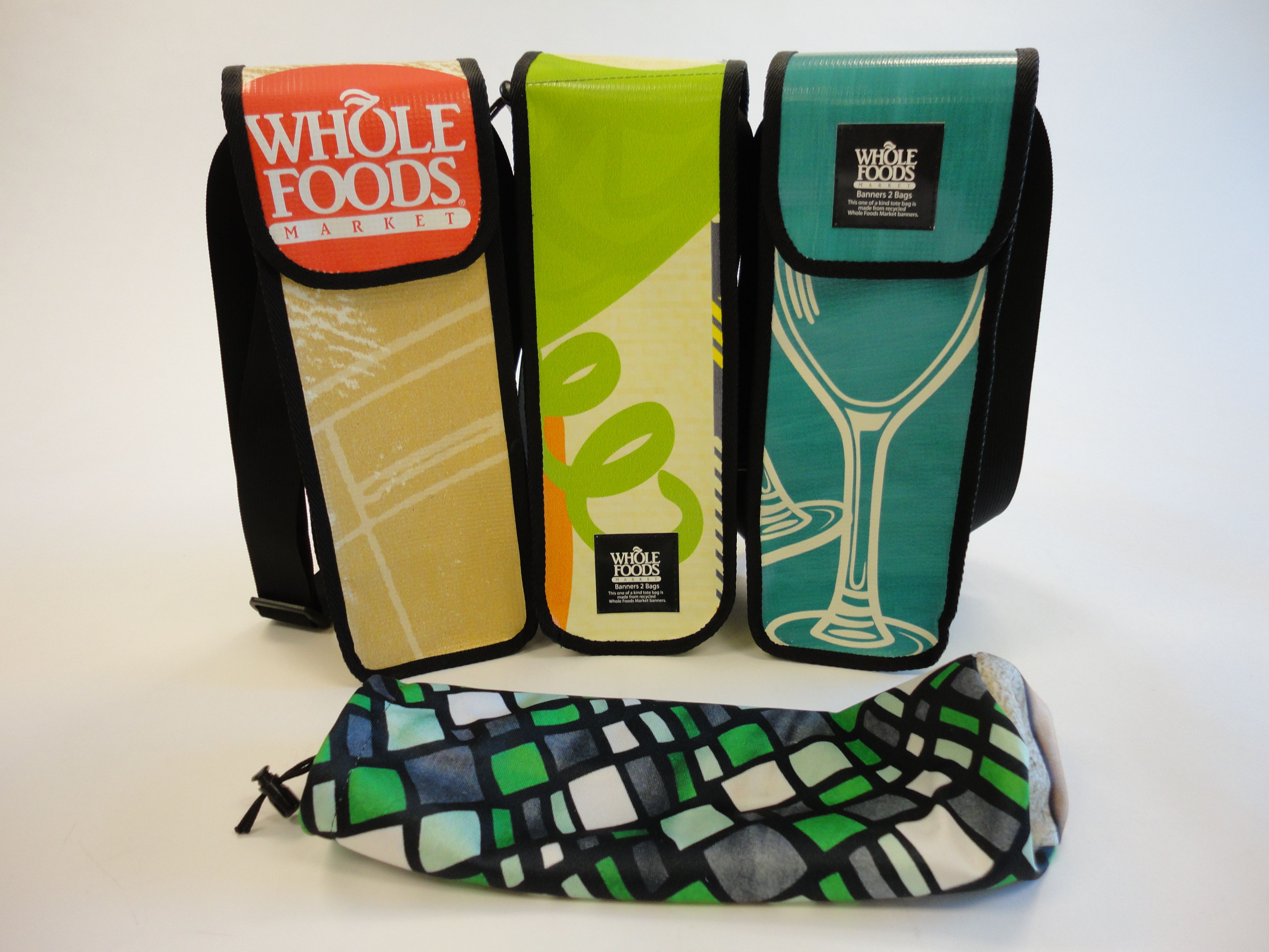 Wine Totes Made From Recycled Whole Foods Banners Fan And