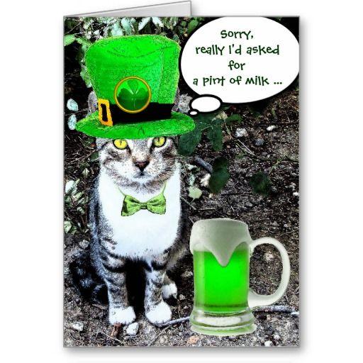 CAT WITH LEPRECHAUN HAT AND GREEN IRISH BEER ST PATRICK'S  DAY GREETING CARDS by Bulgan Lumini